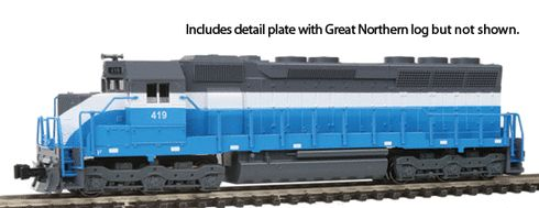 Model Trains Kato Great Northern Diesel Locomotive EMD SD45 Big Sky Blue 176-3126 Cab No 419 N Scale