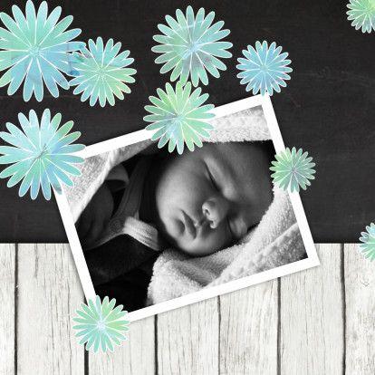 Geboortekaart  foto en bloemen - Geboortekaartjes - Kaartje2go