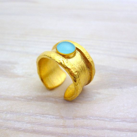 Blue Ring Gold, Enamel Ring, Stone ring, Solitaire Ring, Wide Band ring, Everyday ring, Simple Ring, Greek Jewelry, Hammered ring, Adjustable ring, Gold ring, Brass or Sterling silver Ring https://www.etsy.com/listing/270122408/blue-ring-gold-stone-ring-solitaire-ring