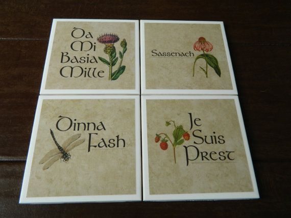 Outlander coasters Mix and Match from 8 designs to make your own custom set of 4 by ocdang on Etsy     #JamieFraser  #Outlander