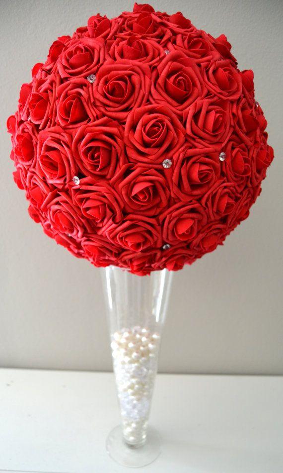 Red foam flower ball with diamond rhinestone gems wedding