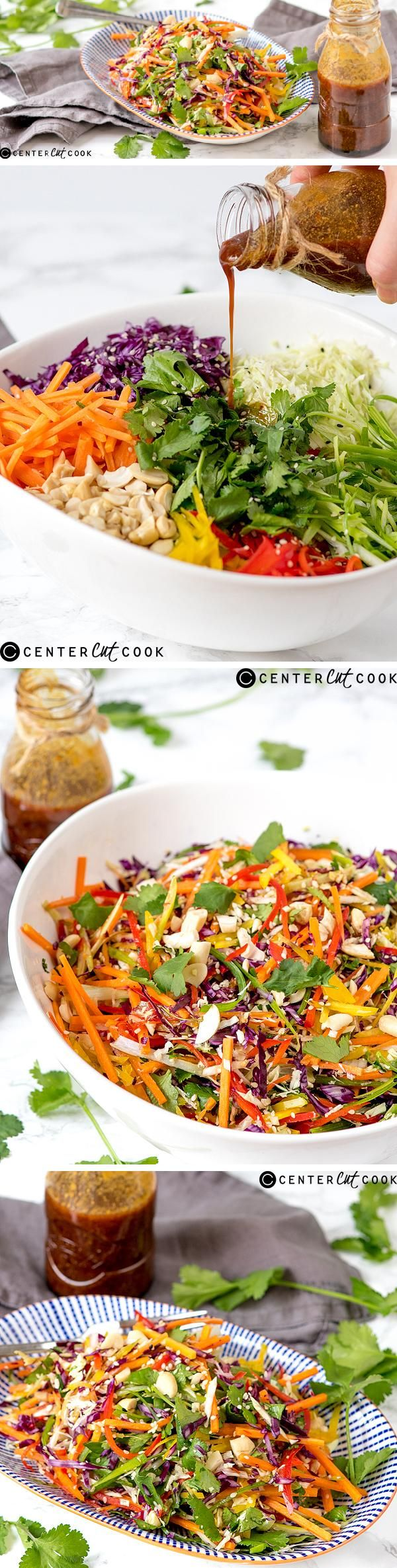 Asian Coleslaw! A rainbow of crunchy vegetables drizzled with a spicy Thai-inspired dressing!