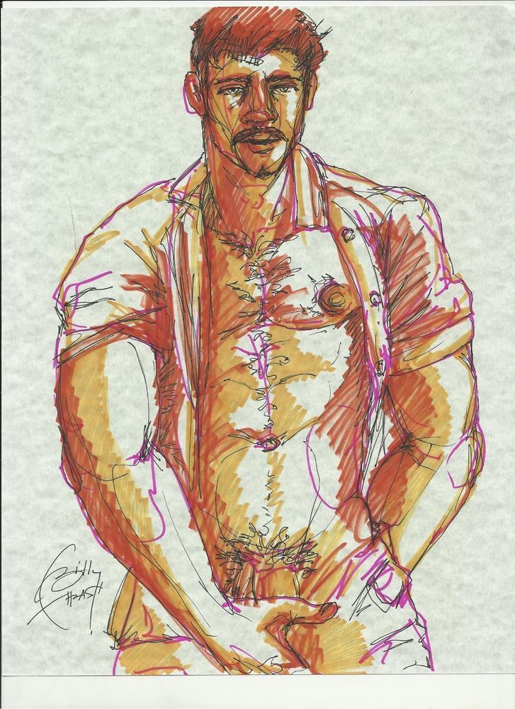 MUSCLE HUNK NUDE PHYSIQUE POSE jazz5 orig gay art BTHRASH
