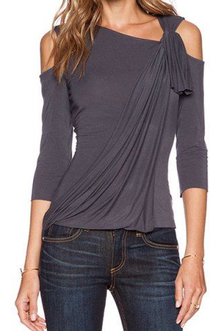 Stylish Skew Neck 3/4 Sleeve Asymmetrical Hollow Out Women's T-Shirt T-Shirts | RoseGal.com