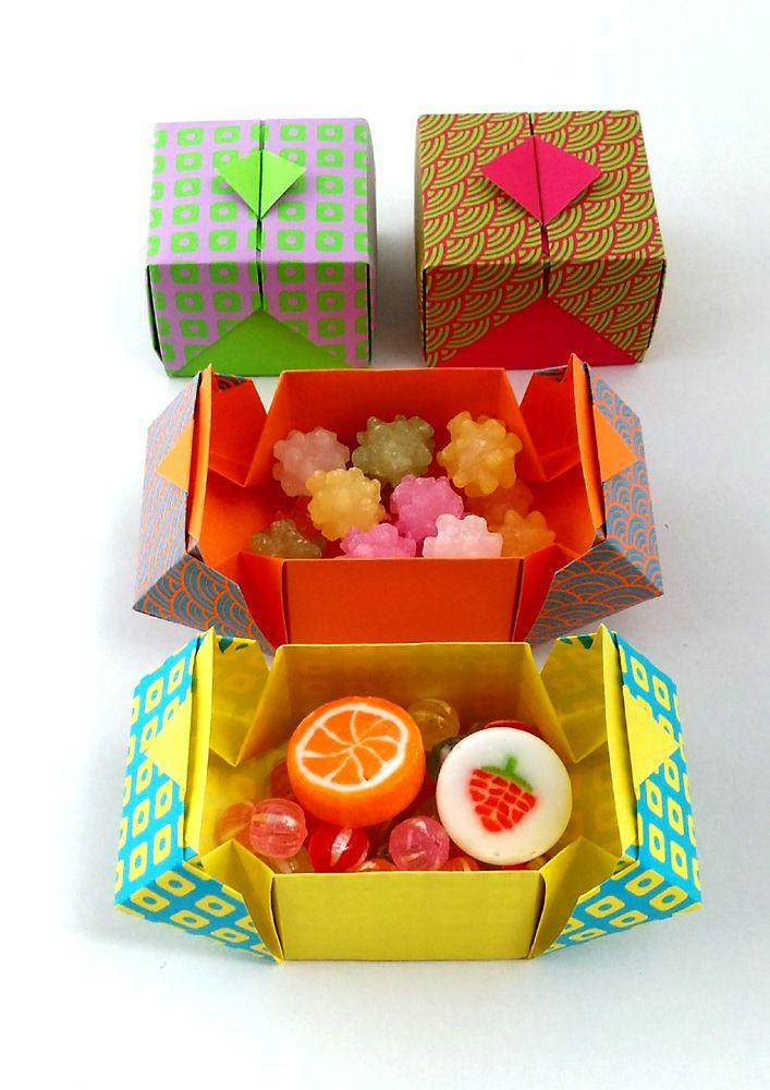 折り紙一枚でふた付きの箱(折り方動画)