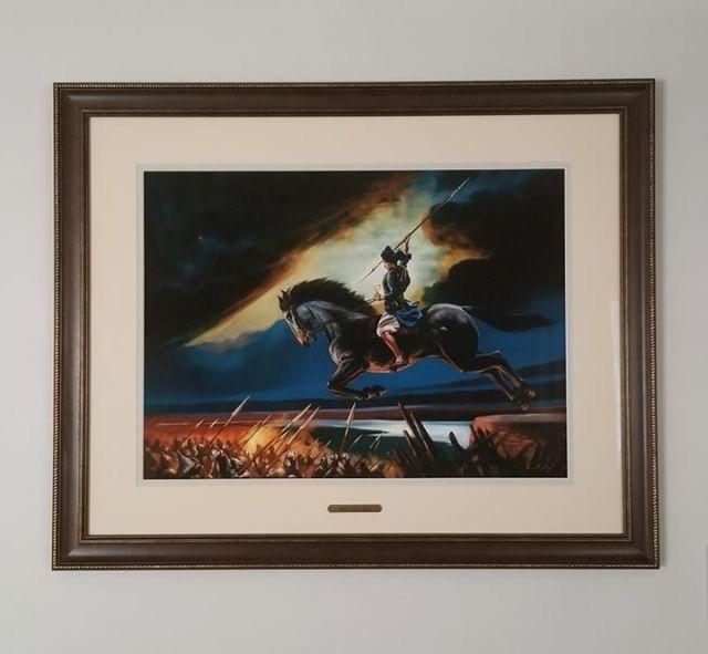 Baba Jujhar Singh ji painting by Kanwar Singh.  Fine art prints available at artofpunjab.com/shop starting at $70 CAD.