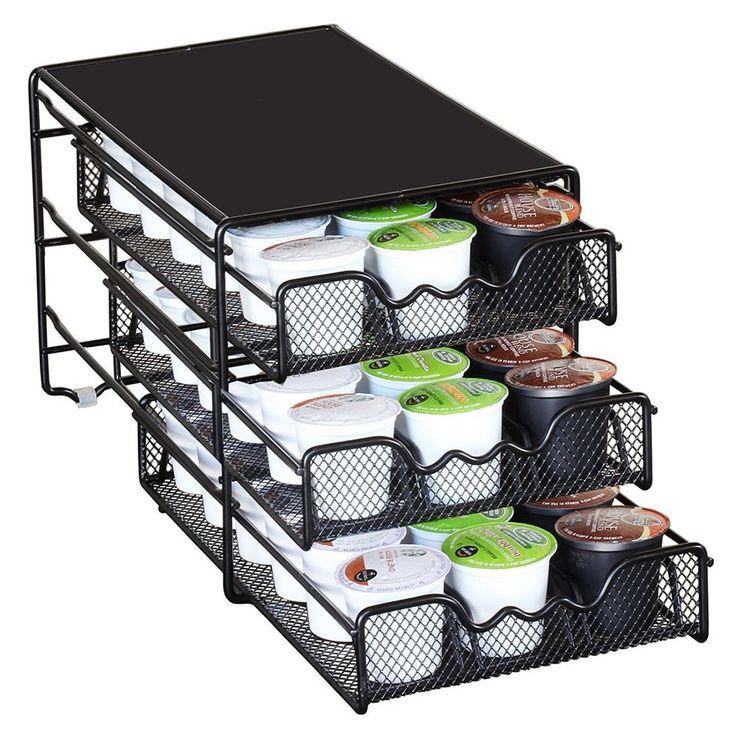 K Cup Storage Coffee Pod Holder Cups Drawer Organizer Keurig Rack Black Stand