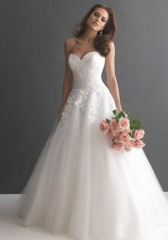 Classic Floor Length Tulle & Lace Sweetheart A line Dropped Waist Wedding Dress - 1300103573B - US$239.99 - BellasDress