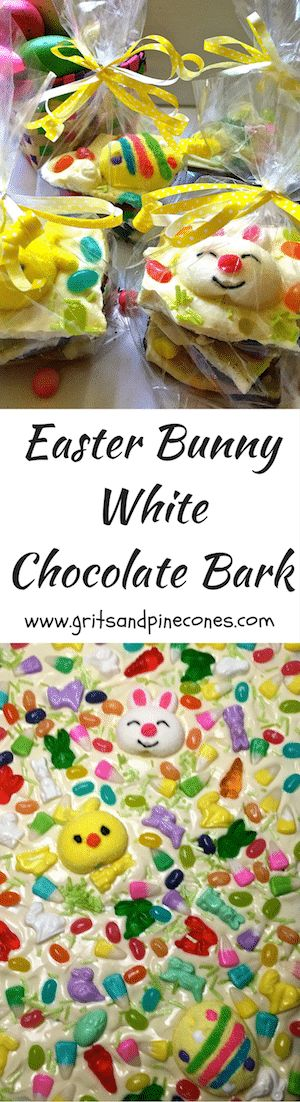 Easy Easter Bunny White Chocolate Bark is creamy white chocolate over chocolate graham crackers, topped with whimsical and colorful Easter candy. via @http://www.pinterest.com/gritspinecones/
