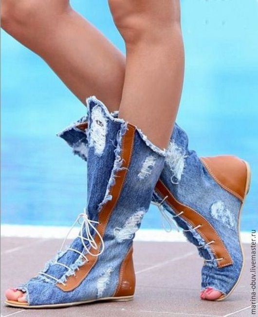 Обувь ручной работы. Джинсовые летние сапоги женские с натуральной кожей ручная работа. Обувь и сумки ручной работы кожаные (marina-obuv). Интернет-магазин Ярмарка Мастеров.