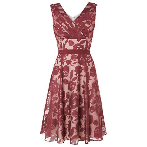 Buy Phase Eight Barbara Burnout Dress, Claret/Cream Online at johnlewis.com