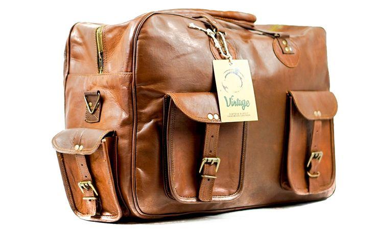 Vintage Handmade Leather Melourne  Cabin Bag Duffel Bag