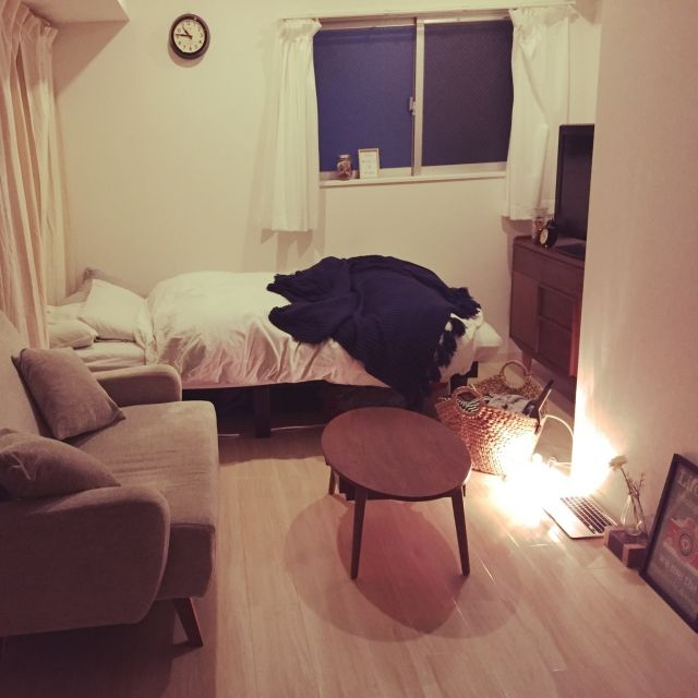 mikaさんの、部屋全体,一人暮らし,unico,セリア,のお部屋写真