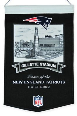 $29.99 - NFL New England Patriots Gillette Stadium Banner - Pay homage to the success of your favorite football team with this NFL New England Patriots Gillette Stadium Banner. Crafted from a wool blend, this banner is the perfect addition to any sports room or sports memorabilia collection.