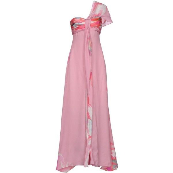 Carlo Pignatelli Cerimonia Long Dress ($210) ❤ liked on Polyvore featuring dresses, gowns, pink, floral dresses, floral printed dress, pink sleeveless dress, pink chiffon dress and sleeveless dress