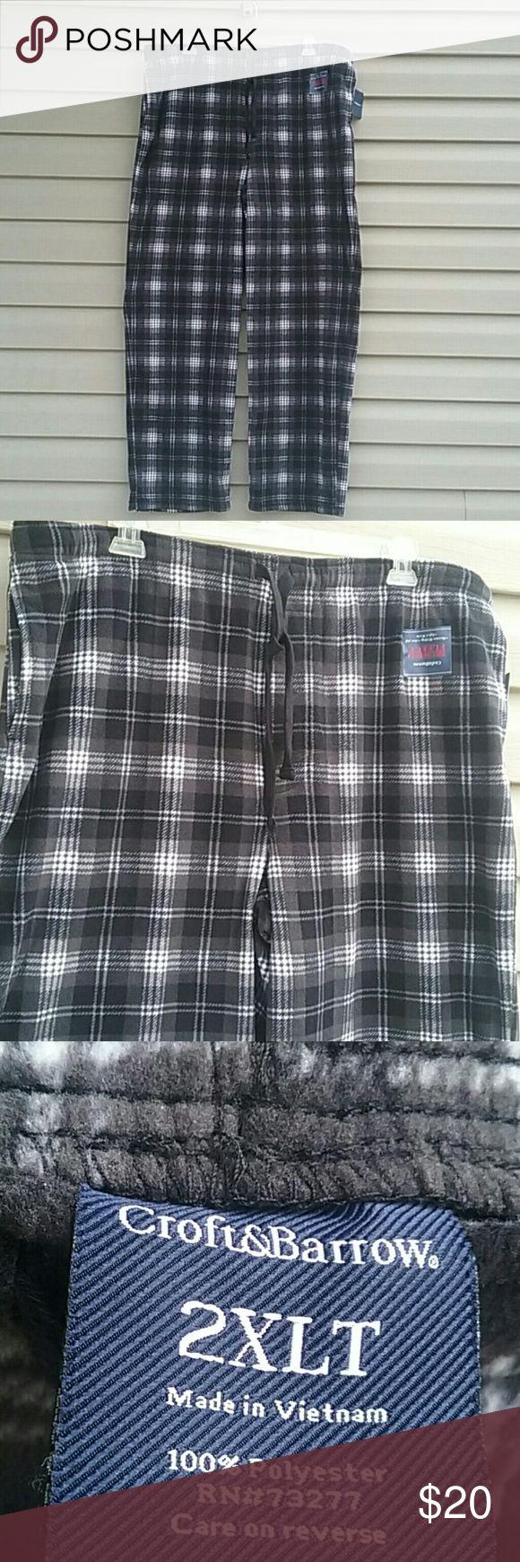 Croft & Barrow fleece pants NWT Mens Croft & Barrow fleece lounge pants, black and gray plaid size 2XLT croft & barrow Pants