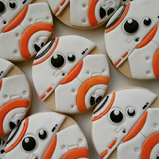 Star Wars Character BB-8 Decorated Cut out Cookies! Iced Biscuits / Galletas Decoradas