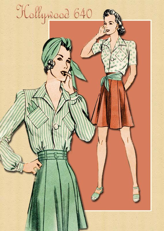 1940s Sewing Pattern Blouse and Skirt Vintage Hollywood 640 Tailored Blouse and Eight Gored Flared Skirt in Two Lengths Bust 34