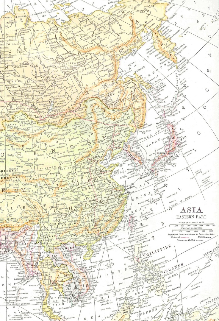 Free Vintage Map Graphic | East Asia from 'Antique Images': http://antiqueimages.blogspot.ca/2013/05/free-digital-map-background-vintage-map.html