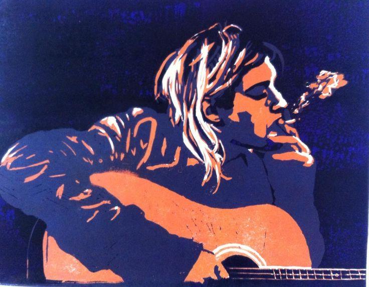 #art #arte #kunst #illustratie #illustration #lino #linocut #linoleum #linoleumsnede #woodcut #houtsnede #muziek #music #kurtcobain #Kurt Cobain #nirvana #gitaar #guitar #rock #rock´nroll #smoke #rook #sigarette #acid #psychedelic #psychedelisch