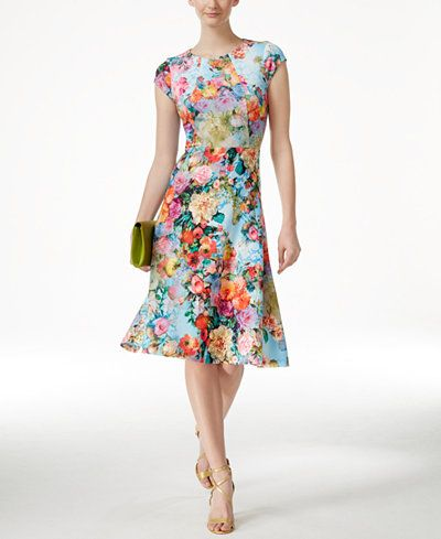 ECI Floral-Print A-Line Scuba Dress