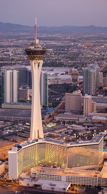The Stratosphere Casino, Hotel & Tower, the northernmost casino on The Strip. At 1,149 feet, it's the tallest, free-standing, observation tower in the US and the tallest structure west of the Mississippi River.