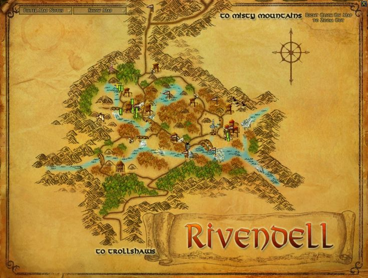 A Detailed Map of Rivendell. I want to spend time in the library with Frodo and Bilbo.