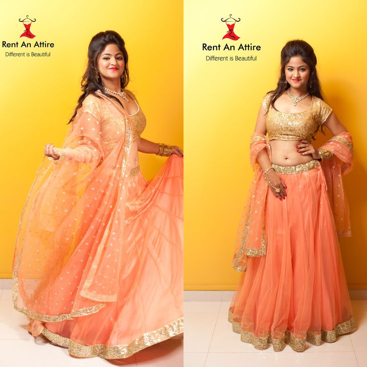 Look absolutely breathtaking and poised in this peach sequin designer lehenga. Peach net dupatta with gold sequin border completes this feminine look.  Try it ♡ Book it ♡ Flaunt it ♡