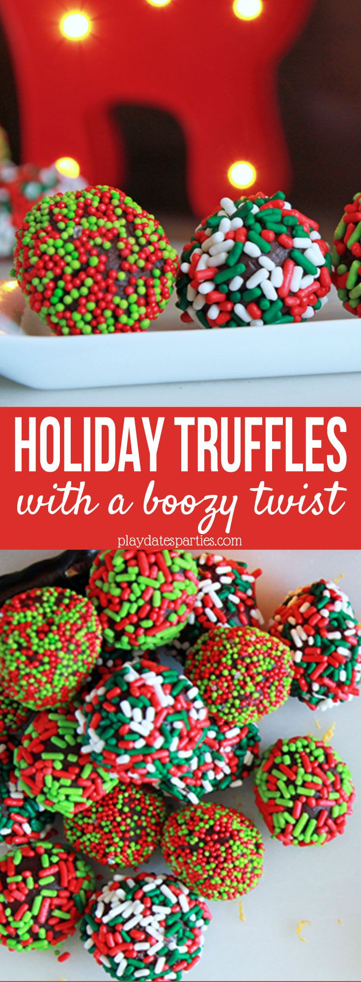Learn this chef secret for incredibly smooth and delicious #chocolate truffles. And then add a few twists to make them PERFECT for your #holiday celebrations! http://playdatesparties.com/12-days-holiday-candy-holiday-truffles-boozy-twist/