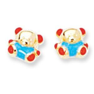 Childrens 14K Gold Teddy Bear Stud Earrings JewelryAffairs. $131.00