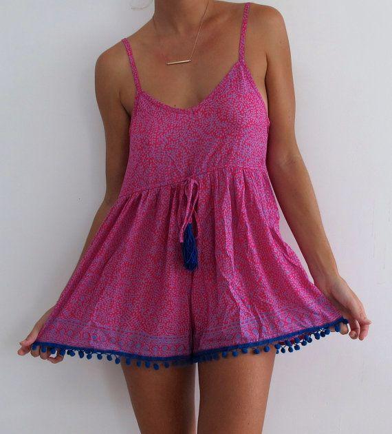 Hot Pink Pom Pom Jumpsuit / Playsuit, Short Beach Dress, Hot Pink & Cobalt Blue Print Skort Shorts