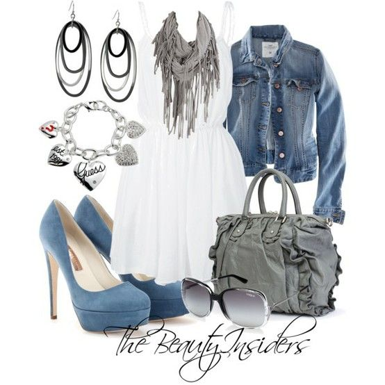 denim and white: Summer Dresses, Style, Jeans Jackets, Fashionista Trends, Denim Jackets, Summer Outfits, White Dress, Sun Dresses, Spring Outfits