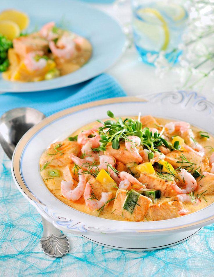 Grønn currygryte med reker og laks