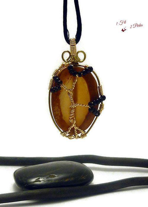 Collier Pendentif Arbre de Vie Agate Naturelle  par 1fil2perles