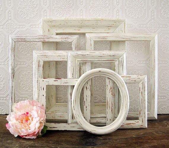 empty picture frame set of 8 antique white by sealoveandsalt - Empty Picture Frame