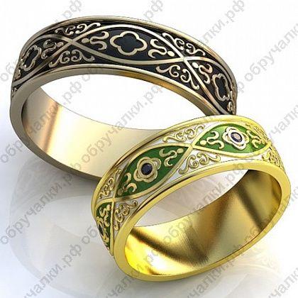 Оригинальные обручальные кольца из золота с эмалью и черными бриллиантами