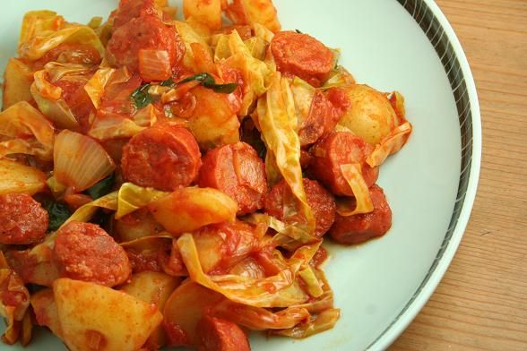 chorizo with cabbage and potatoes