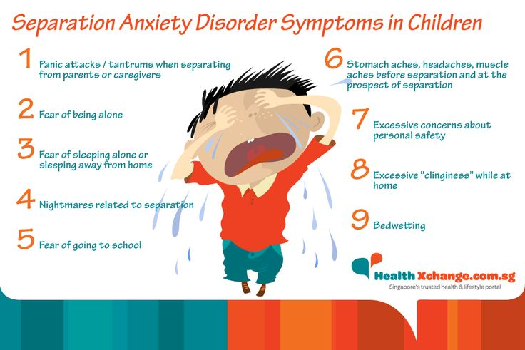 Separation Anxiety Disorder Symptoms in Children  |  ​It's normal for a young child to get anxious and cry when away from home or separated from a parent or caregiver. However, when a child persistently displays excessive anxiety and fear in such situations, or simply in anticipation of a separation, the child could be suffering from separation anxiety disorder. Read on to find out what to do about it. #children #kids #childrenshealth #parenting #parentingtips #separationanxiety #infographic