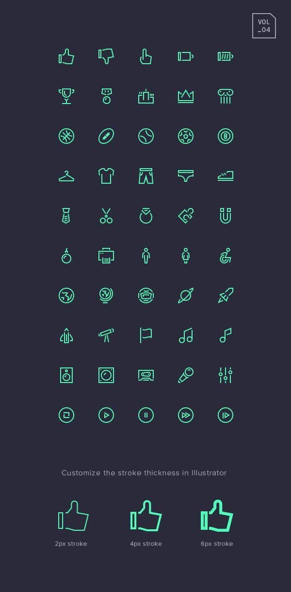 Stroke Gap Icons Set Vol.4 | GraphicBurger