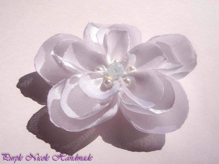 Margaret - Handmade Bridal Flower by Purple Nicole (Nicole Cea Mov). Materials: satin, pearls, opalite.
