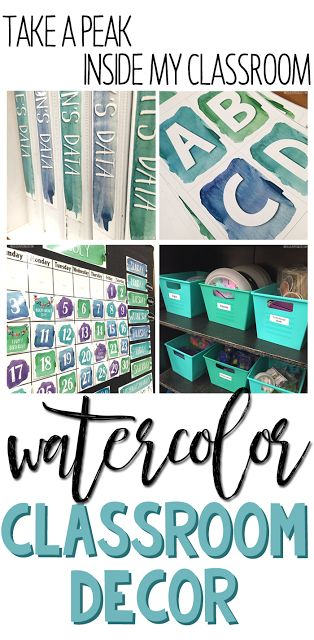 Take a sneak peat at this special education classroom with watercolor themed decor.