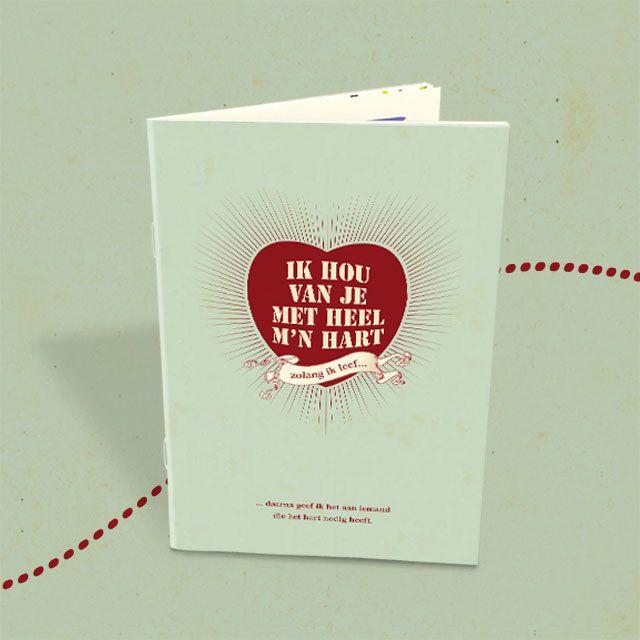"""Bestel of download hier de brochure """"Ik hou van je met heel m'n hart"""" over de praktische en ethische aspecten van orgaandonatie. Met donorpasje!"""