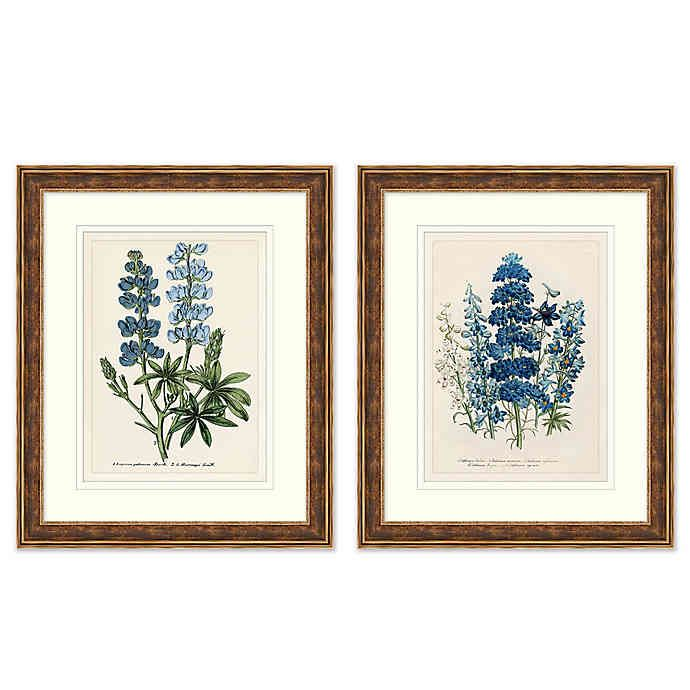 Blue Florals Framed Botanical Print Wall Art Framed Botanical Prints Framed Floral Prints Framed Botanicals