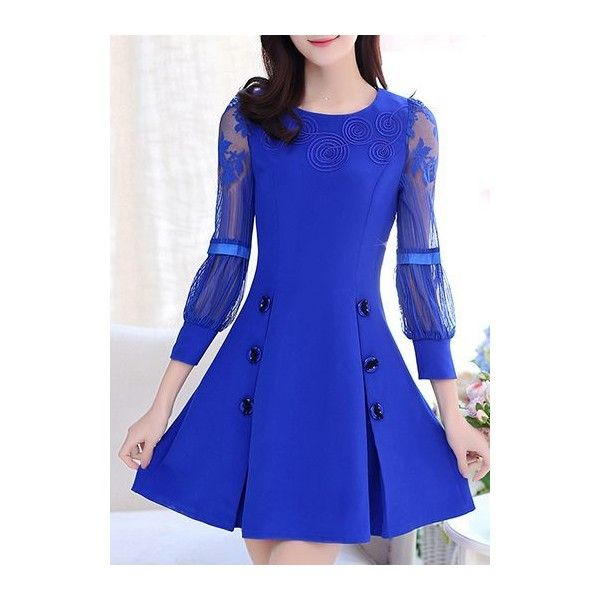 Mesh Panel Royal Blue Round Neck Skater Dress ($29) ❤ liked on Polyvore featuring dresses, blue, royal blue long sleeve dress, blue mini dress, mini dress, sleeved dresses and skater dress