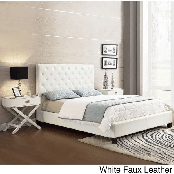 Tribecca Home Sophie Tufted Full Upholstered Bed ($301) ❤ liked on Polyvore featuring home, furniture, beds, white, tufted fabric headboard, white tufted bed, faux headboard, tufted upholstered bed and white upholstered headboard