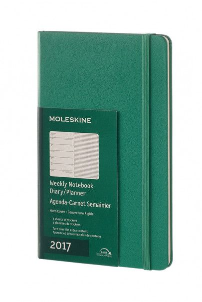 Moleskine - 2017 Weekly Diary and Notebook - Large (14x21cm) - Hard Cover - Malachite Green