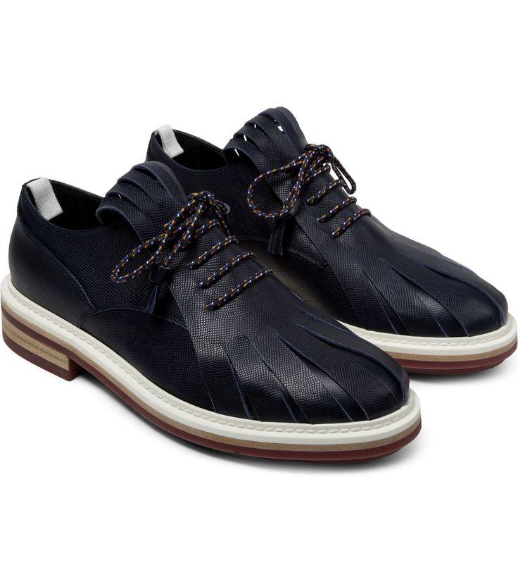 Kris Van Assche Navy Fringed Tongue Derby Shoes