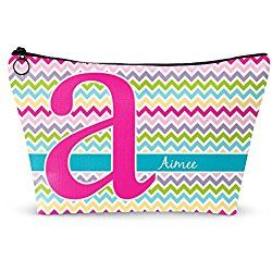 """Colorful Chevron Makeup Bag - Small - 8""""x5"""" (Personalized)"""