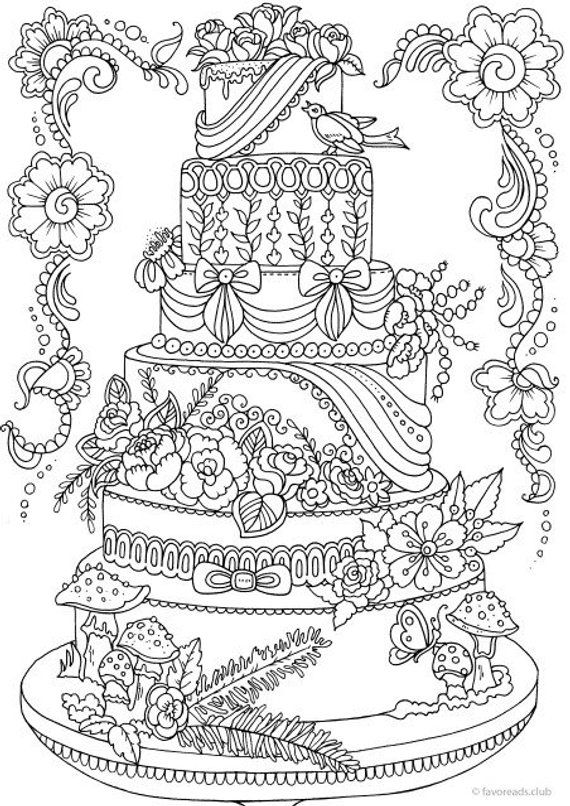 Cake Printable Adult Coloring