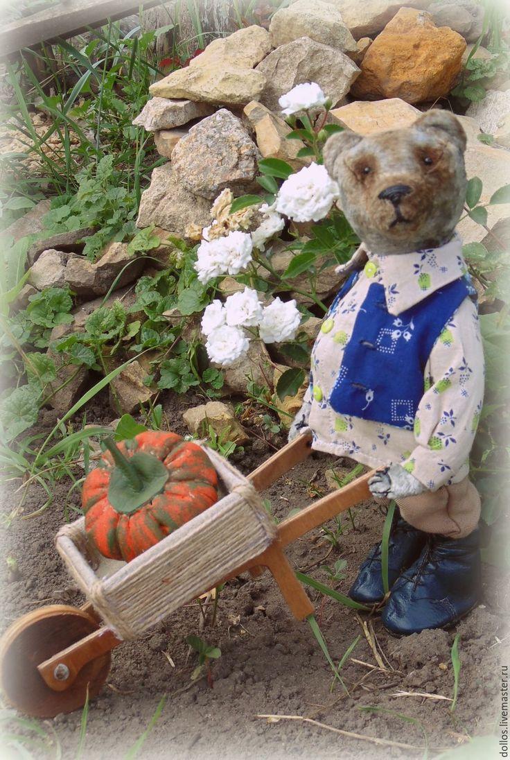 Купить Садовник Федор - тёмно-синий, коллекционный мишка, тедди, винтаж, плюш, деревня мишкино